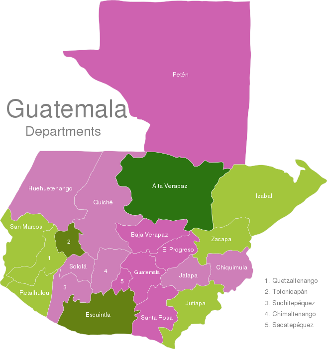 Guatemala Departments Interactive Javascript Map Javascriptmapcom - Departments map of guatemala