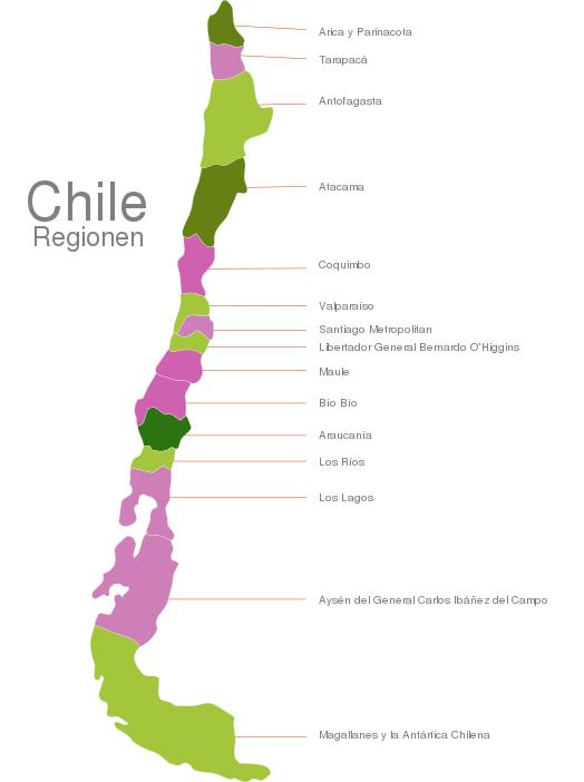 Chile Regions interactive Javascript Map | javascript-map.com on