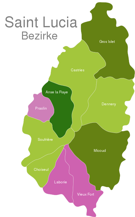 map of st lucia showing districts Saint Lucia Districts Interactive Javascript Map Javascript Map Com map of st lucia showing districts