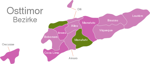 East Timor Timor Leste Districts