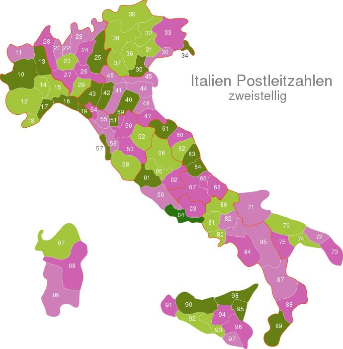 Italy Post Codes Digit interactive Javascript Map ...
