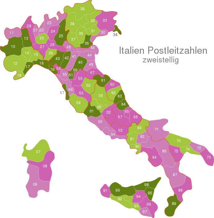 Italy Post Codes Digit