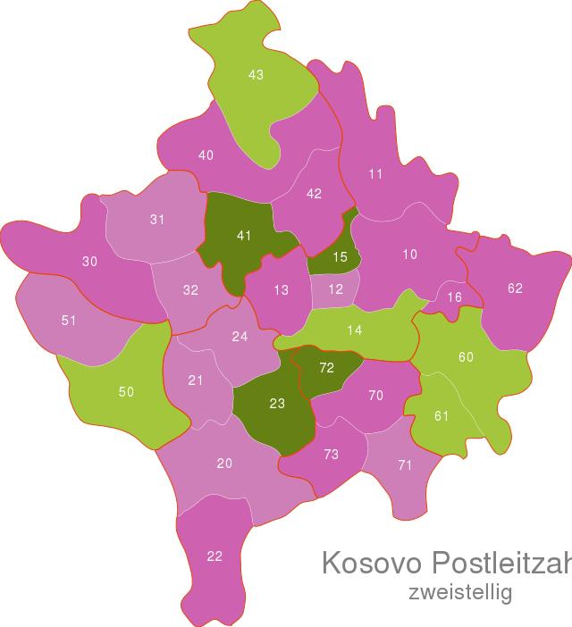 Kosovo Post Codes Digit