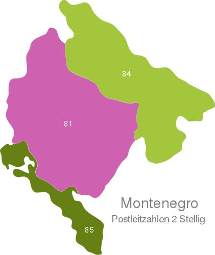 Montenegro Post Codes Digit